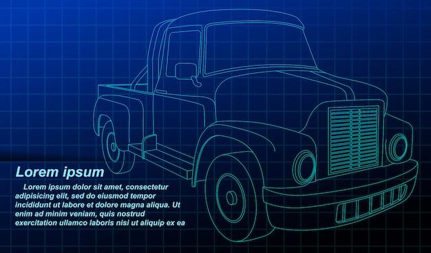 Véhicule de croquis de contour de vecteur sur blueprint.