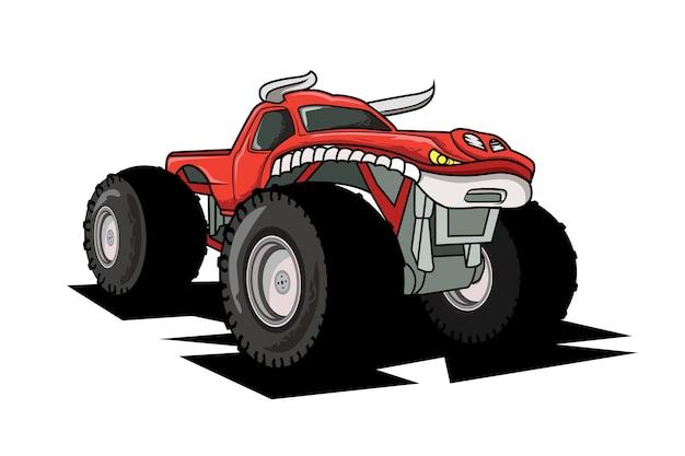 Véhicule de dessin animé de camion monstre ou voiture et illustration de transport de spectacle extrême