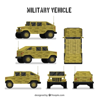 Véhicule militaire dans des vues différentes