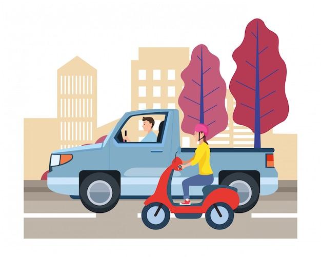 Véhicule et moto avec chauffeur