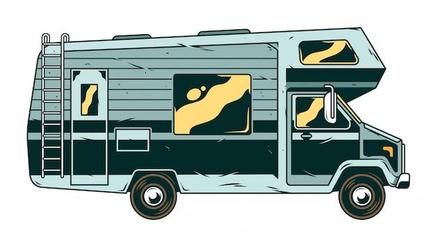 Véhicule récréatif vintage, camping-car pour voyage en famille et voyage en plein air.