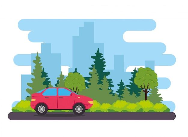 Véhicule de voiture berline rouge sur la route, avec des plantes d'arbres nature vector illustration design