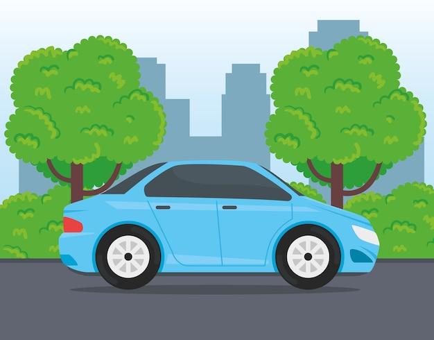 Véhicule de voiture bleue voyageant dans la conception de la route
