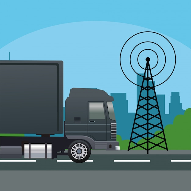 Véhicule de voiture camion noir avec antenne de télécommunications
