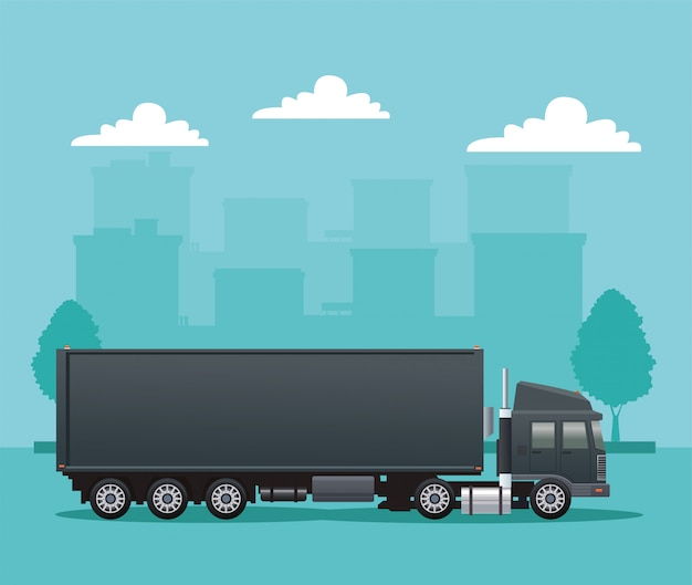 Véhicule de voiture camion noir sur la scène de la route