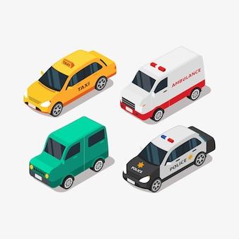 Véhicule de voiture isométrique pour le transport personnel et l'illustration des transports publics