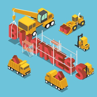 Véhicules de chantier de construction isométriques plats 3d construisant le mot d'affaires. concept de construction d'entreprise et de marque