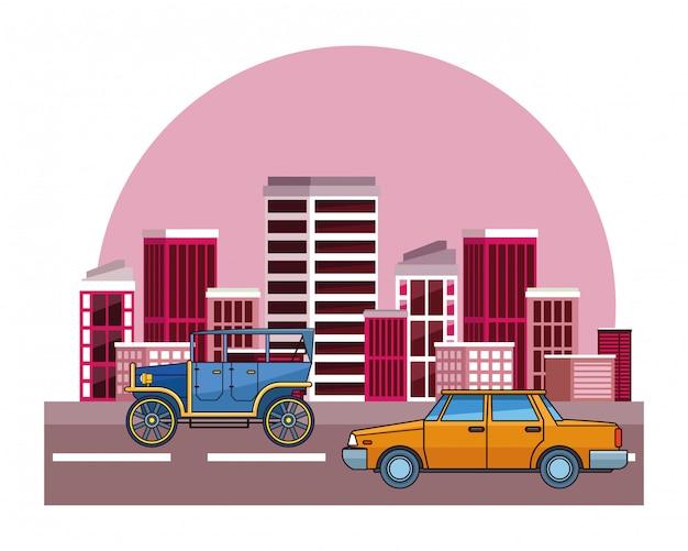 Véhicules de voitures anciennes et classiques