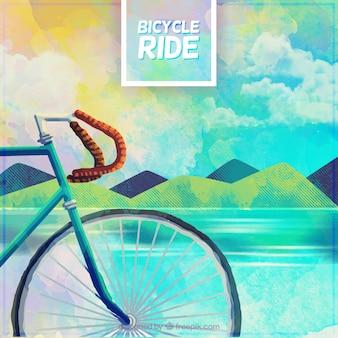 Vélo aquarelle et fond de paysage