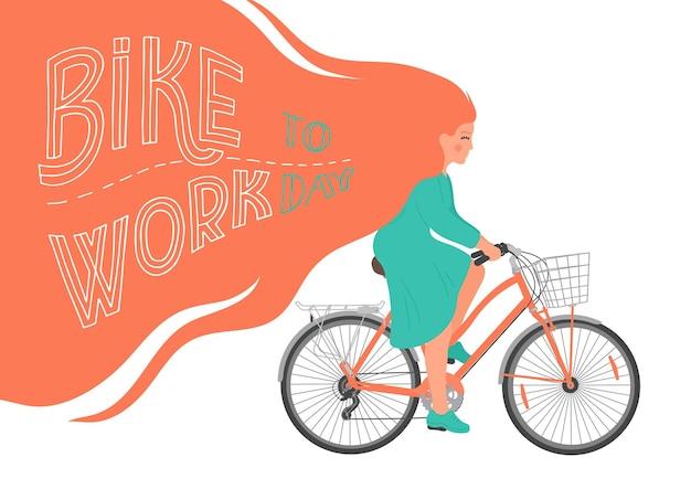 Vélo au travail femme à vélo avec lettrage dessiné à la main