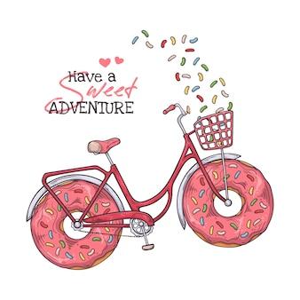 Vélo avec des beignes au lieu de roues.