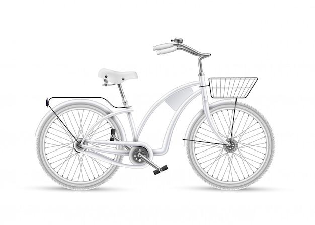 Vélo Blanc Vecteur Réaliste Maquette Isolé 3d Vecteur Premium