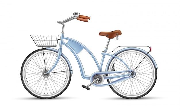 Vélo bleu vecteur réaliste 3d isolé
