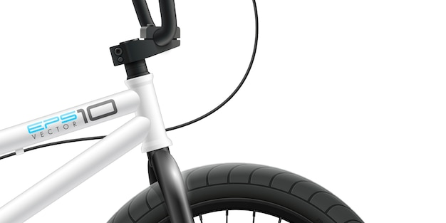 Vélo Bmx - Gros Plan De La Zone Avant. Vecteur Premium