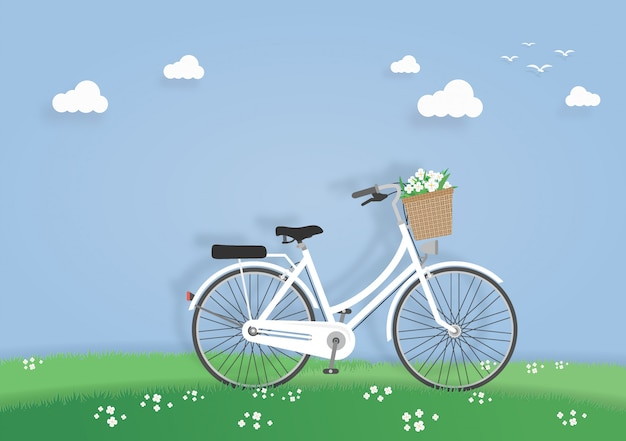 Vélo dans le pré ou le jardin