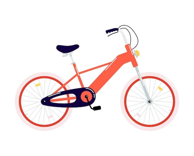 Vélo de dessin animé à deux roues rouge avec frein à main et phare.
