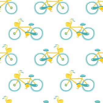 Vélo féminin. joli modèle sans couture dans un style de dessin animé enfantin simple.