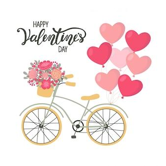 Vélo de fond de la saint-valentin avec des fleurs et des ballons en forme de coeur