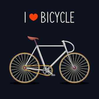 Vélo de hipster dans un style plat branché avec texte i love bicycle.