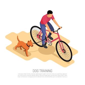 Vélo homme équitation avec chien en cours d'exécution exercice aérobie éducatif vector illustration