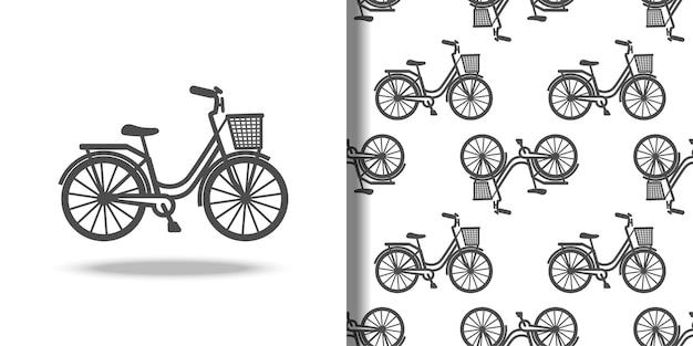 Vélo avec icône de panier et ensemble de motifs harmonieux pour les imprimés de t-shirt textile fonds d'écran