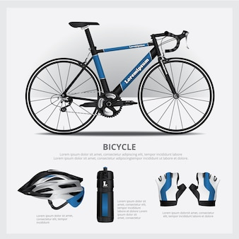 Vélo avec illustration vectorielle accessoire