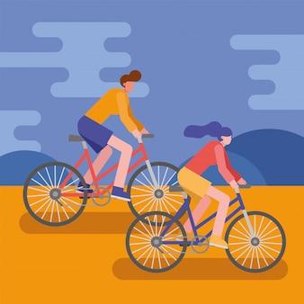 Vélo de jeune couple monter des personnages de sport