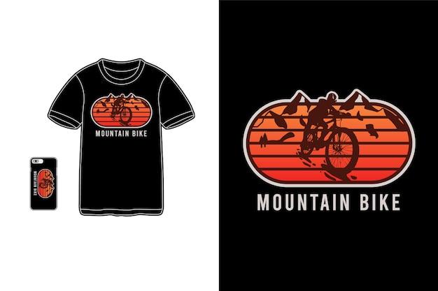 Vélo de montagne, typographie de maquette de siluet de marchandise de t-shirt