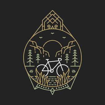Vélo à nature 2 monoline illustration