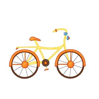 Vélo orange-jaune avec des fleurs dans le panier dans un style dessin animé mignon