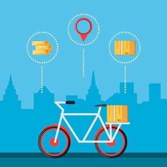 Vélo pour icône isolé du service logistique