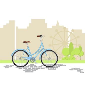 Vélo rétro bleu sur fond de ville. vélo coloré dans le parc. illustration vectorielle plane