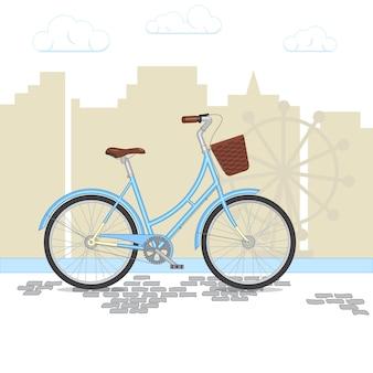 Vélo rétro bleu avec panier sur fond de ville. vélo coloré dans le parc. illustration vectorielle plane