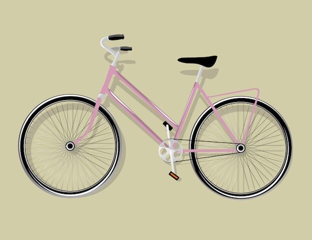 Vélo rose femme isolé, illustration vectorielle