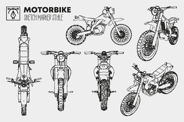Vélo de saleté dessiné à la main. ensemble de vues de moto isolées. dessins d'effet de marqueur. silhouettes colorées modifiables.