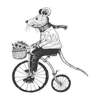 Vélo de souris mignon dessiné à la main
