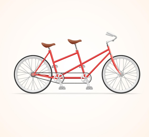 Vélo tandem vintage rouge.