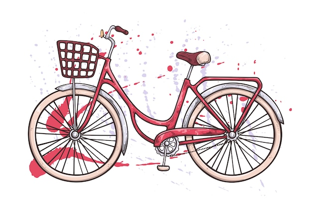 Vélo de vecteur dans le style vintage. texture aquarelle