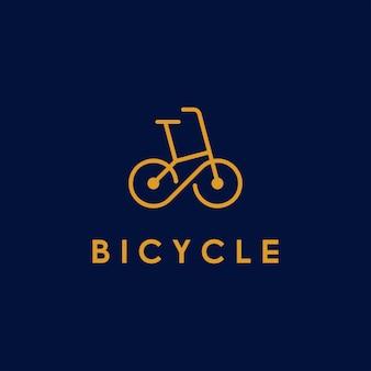 Vélo, vélo, logo d'art de ligne de cycle avec symbole infini dans la roue