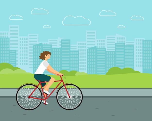 Vélo de ville femme. cavalier blanc à vélo. caractère vectoriel plat.