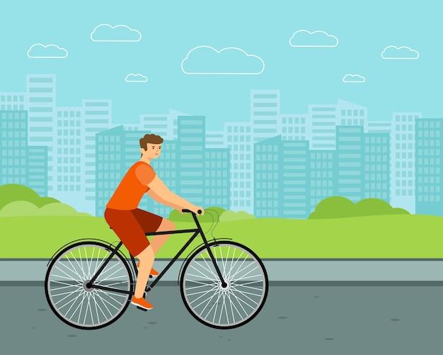 Vélo de ville homme. cavalier blanc à vélo. caractère vectoriel plat.
