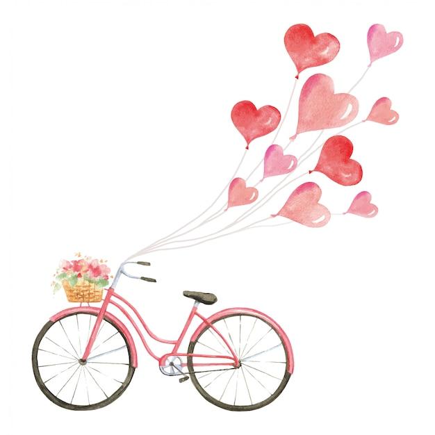 Vélo vintage rose avec ballons d'amour