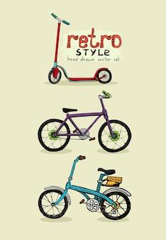 Vélos hipster et scooter dessinés à la main