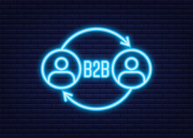 Vendeur b2b vendant des produits. icône néon. ventes interentreprises, méthode de vente b2b. illustration vectorielle.