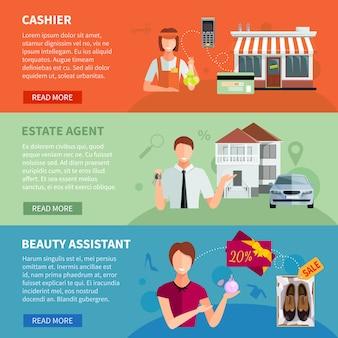 Vendeur, bannières, ensemble, de, caissier, à, caisse enregistreuse, agent immobilier, à, voiture, et, assistant