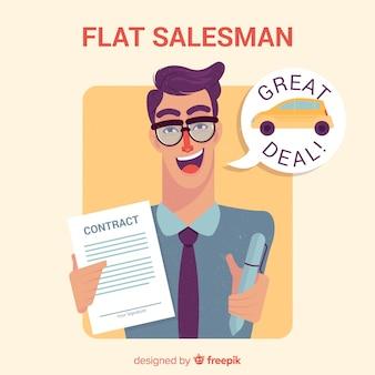 Vendeur avec contrat en design plat