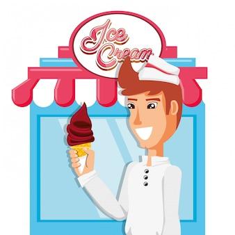 Vendeur de crème glacée au caractère de kiosque