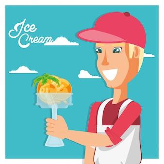 Vendeur de crème glacée avec personnage de coupe