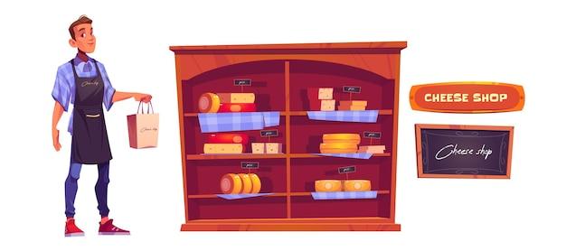 Vendeur, fromage sur les étagères et enseigne de magasin.
