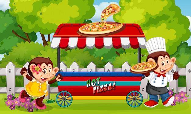 Un vendeur de nourriture au parc
